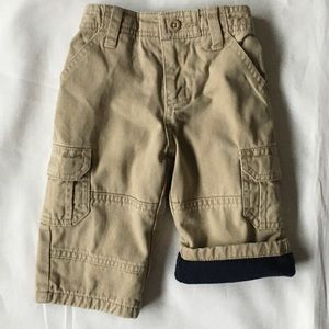 Gap khakis 6 12 months flannel lined baby boys EUC